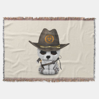 Baby Polar Bear Zombie Hunter Throw Blanket