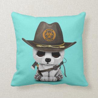 Baby Polar Bear Zombie Hunter Throw Pillow
