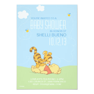 """Baby Pooh and Tigger Baby Shower 5"""" X 7"""" Invitation Card"""