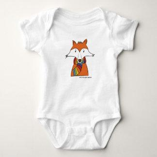 Baby Pride   Cute Mr Fox with Rainbow Colour Scarf Baby Bodysuit