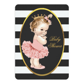 Baby Princess in Tutu Black White Stripes Gold Card