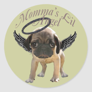 Baby Pug  Angel Classic Round Sticker