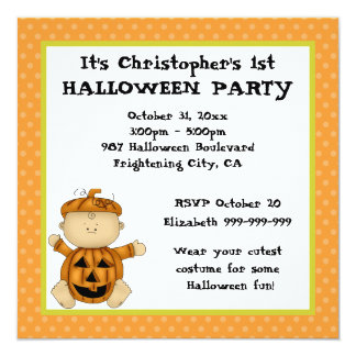 "Baby Pumpkin Kid First Halloween Party 5.25"" Square Invitation Card"