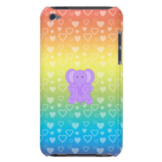 Baby purple elephant rainbow hearts barely there iPod cover