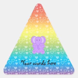 Baby purple elephant rainbow hearts pattern triangle sticker