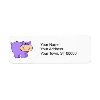 baby purple hippo return address label
