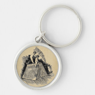 Baby Putto and Books Silver-Colored Round Keychain