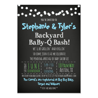 BaBy-Q BBQ Baby Boy Shower Invitation Book Card