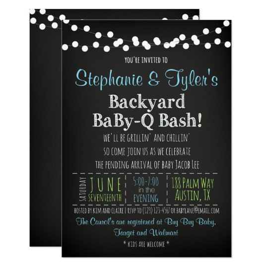 BaBy-Q BBQ Baby Shower Invitation and Book Card