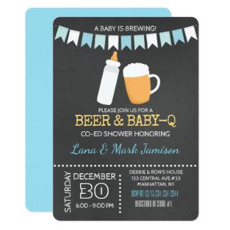 Baby-Q BBQ Beer Shower Invite (Blue Back)