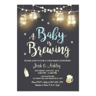Baby Q invitation Coed BBQ Baby brewing Boy blue