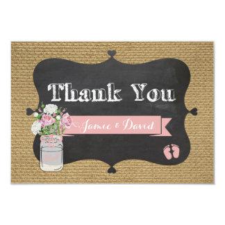 BaBy-Q Shower Burlap Mason Jar Thank You Card