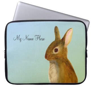 Baby Rabbit Watercolor Painting Wildlife Artwork Computer Sleeves