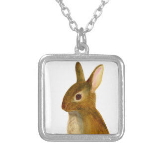 Baby Rabbit Watercolor Painting Wildlife Artwork Silver Plated Necklace