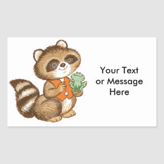 Baby Raccoon in Orange Vest with Best Friend Frog Sticker