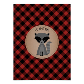 Baby Raccoon Plaid Personalized Nursery Artwork Poster