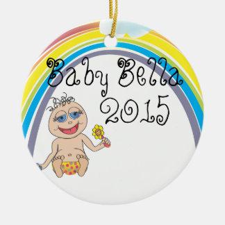 Baby Rainbow Cartoon Round Ceramic Ornament