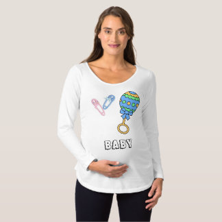 Baby Rattle, and Diaper Pins Maternity Shirt