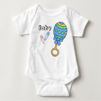 Baby Rattle and Pins Body Suit Baby Bodysuit