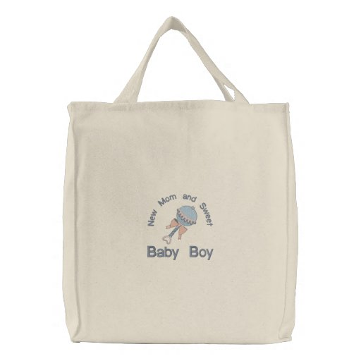Baby Rattle - Blue Embroidered Bags
