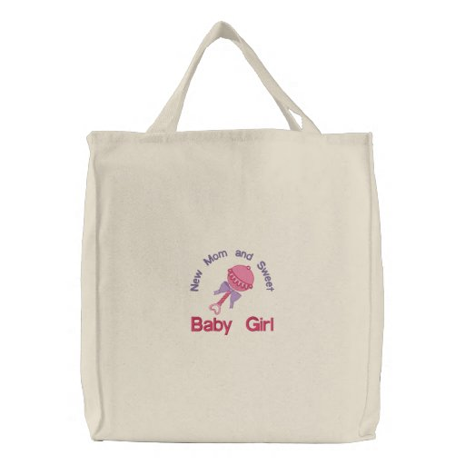 Baby Rattle - Pink Embroidered Tote Bag