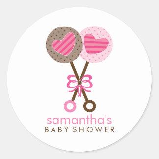 Baby Rattles Twin Girls Baby Shower Round Sticker