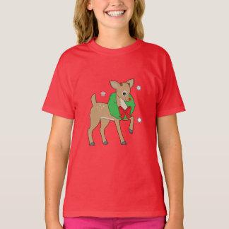 Baby Reindeer Wearing a Christmas Wreath T-Shirt
