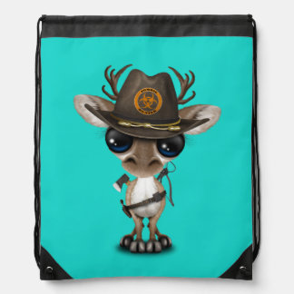 Baby Reindeer Zombie Hunter Drawstring Bag