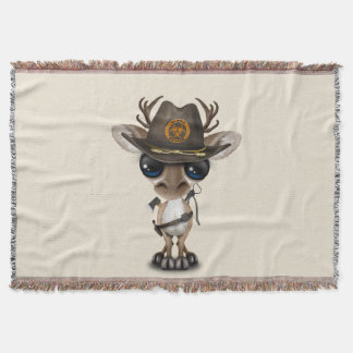 Baby Reindeer Zombie Hunter Throw Blanket