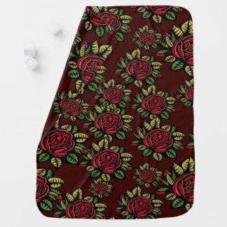 Baby retro red roses blankie Receiving Blanket