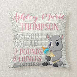 Baby Rhino Rhinoceros Bottle Birth Announcement Throw Pillow