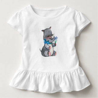 Baby Rhino With Blue Flower and Bow Toddler T-shirt
