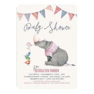 "Baby Rhinoceros & Birdies Painted Girl Baby Shower 5"" X 7"" Invitation Card"