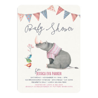 Baby Rhinoceros & Birdies Painted Girl Baby Shower Card