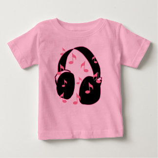 Baby Rock!  Headset with Musical Notes Pink Baby T-Shirt