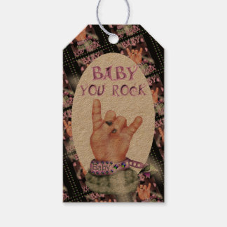 BABY ROCK MUSIC CARTOON GIFT TAG Kraft Pack Of Gift Tags