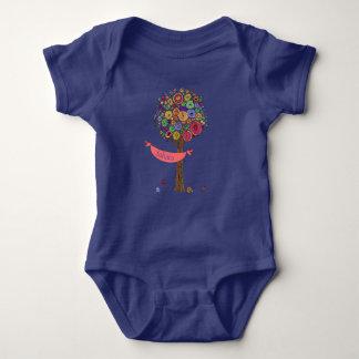 Baby Romper Color Tree Banner Birdies Baby Name