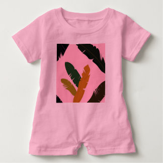 Baby Romper PINK with Exotic hand-drawn Leaves