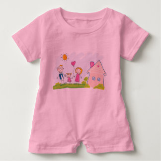 Baby Romper PINK with hand-drawn Family art