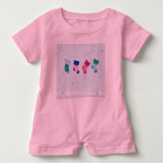Baby romper with hand-drawn Socks PINK