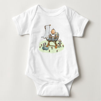 Baby rompertje with baby in cradle baby bodysuit