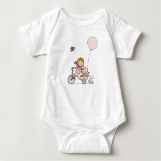 Baby rompertje with little children on tricycle baby bodysuit