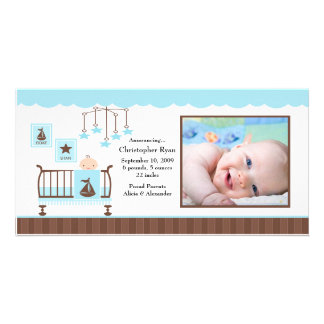 Baby Room Boy PHOTO Birth Announcement Photo Card Template