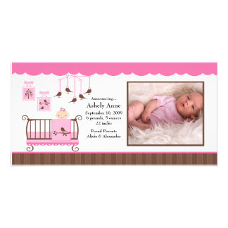 Baby Room Girl PHOTO Birth Announcement Photo Greeting Card