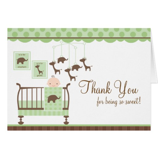 Baby Room Green Thank You Note Card