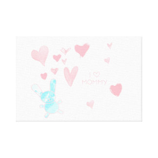 "Baby room I love Mommy Pink Blue 12"" x 12"", 1.5"" Canvas Print"