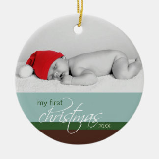 Baby s 1st Christmas Custom Ornament blue