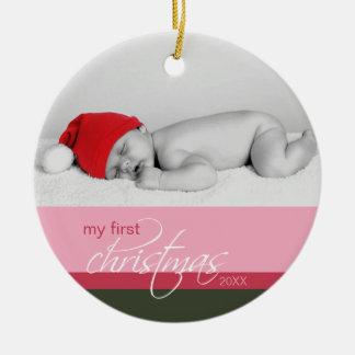 Baby s 1st Christmas Custom Ornament pink
