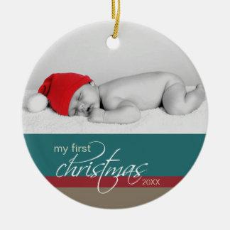 Baby s 1st Christmas Custom Ornament teal
