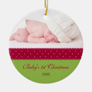 Baby s 1st Christmas - Ribbon green Christmas Ornaments